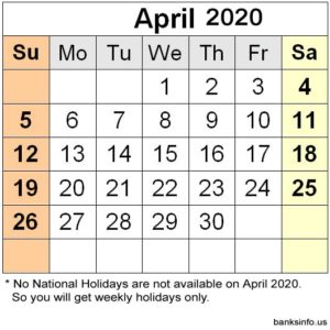 National Holiday Calendar - April 2020