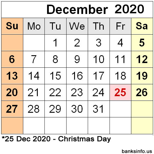 National Holiday Calendar - December 2020