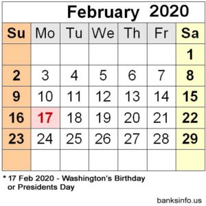 National Holiday Calendar - February 2020