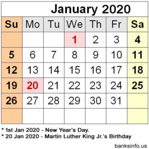 National Holiday Calendar - January 2020