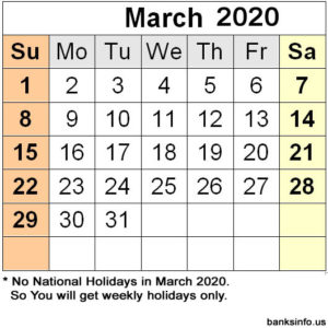 National Holiday Calendar - March 2020