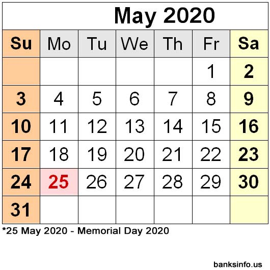 National Holiday Calendar - May 2020