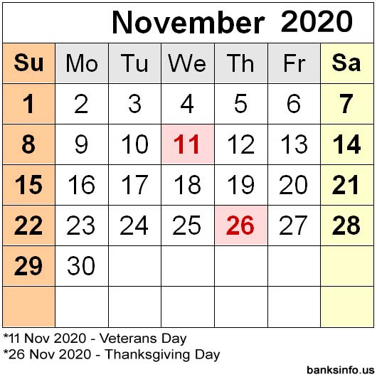 National Holiday Calendar - November 2020