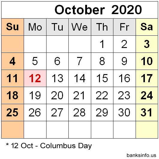 National Holiday Calendar - October 2020