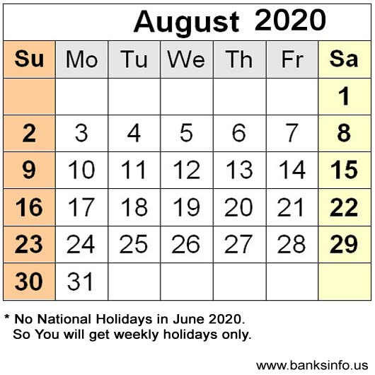 USA National Holiday Calendar - August 2020