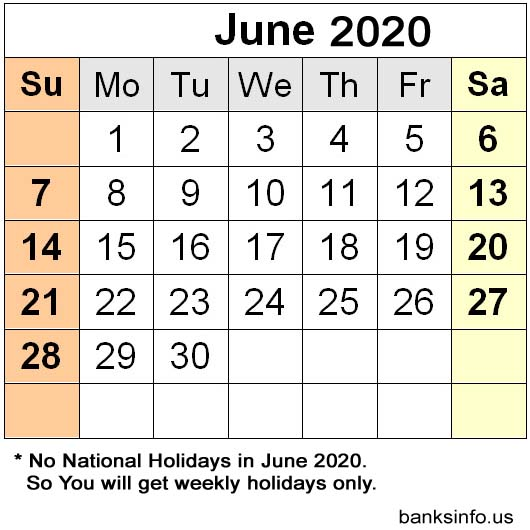 USA National Holiday Calendar - June 2020