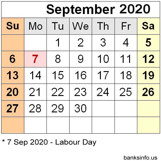 USA National Holiday Calendar - September 2020